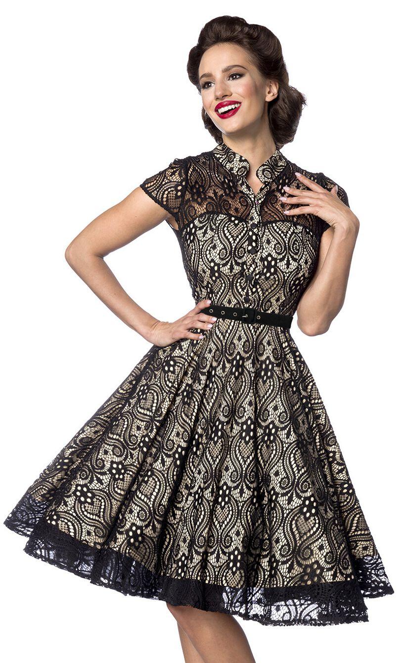 Kleider - Belsira Lacedress Mittellanges Kleid beige schwarz  - Onlineshop EMP