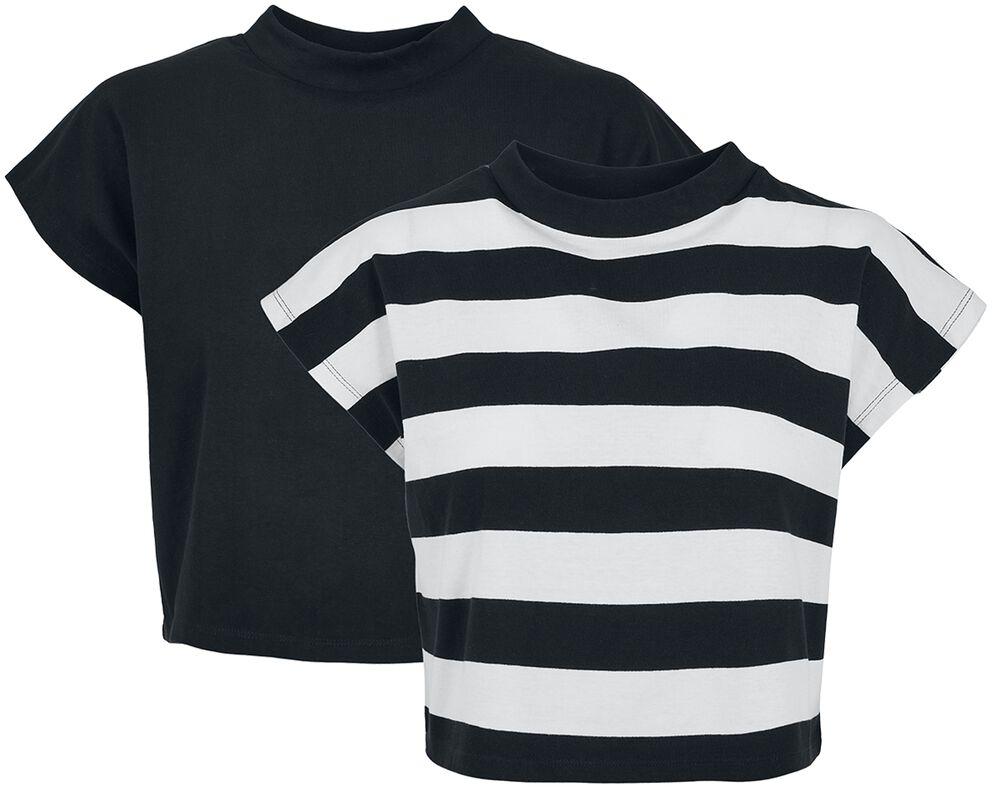 Ladies Stripe Short Tee 2-Pack