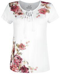 Weißes T-Shirt mit Schnürung und Print