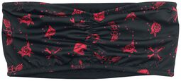 Schwarzes Bandeau mit rotem Alloverprint