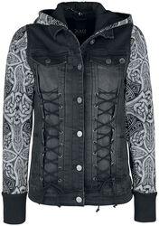 Schwarze Jacke mit Kapuze und Ärmeln mit Print