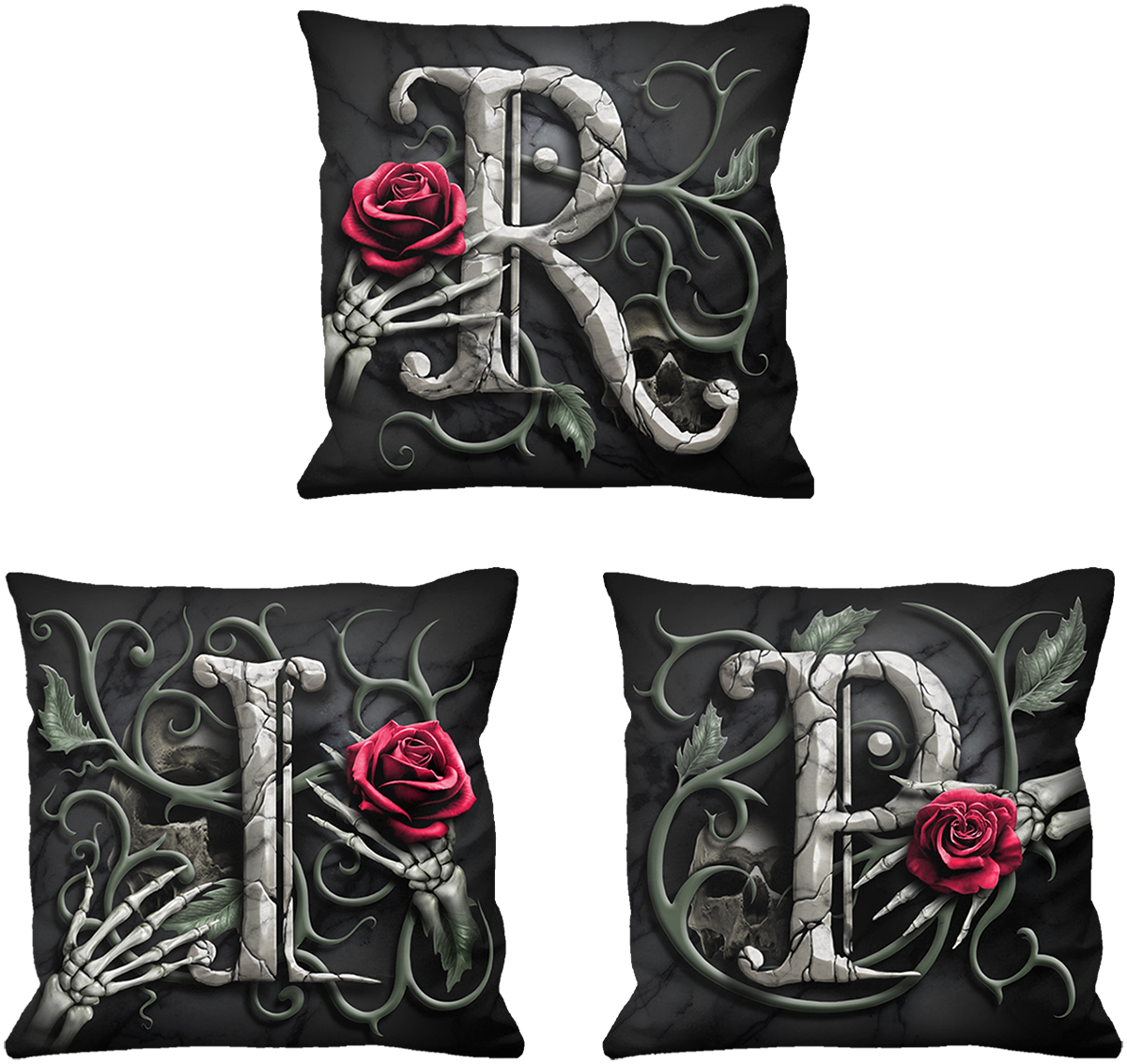 Spiral - R.I.P. 3er Set - Kissen - schwarz