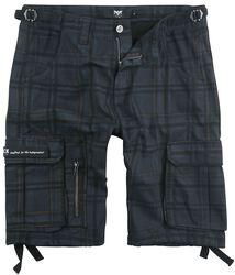 Schwarze karierte Army Shorts