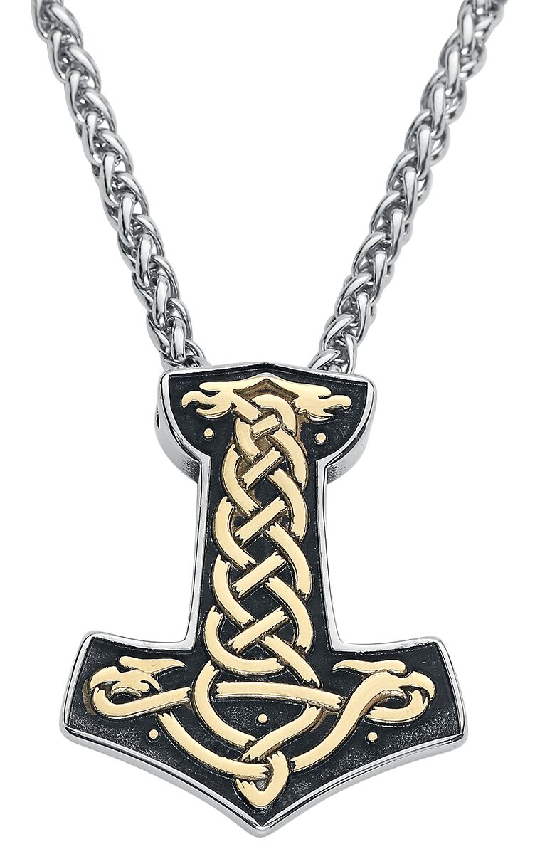 URBANTIMBER Thors Hammer mit Keltischen Knoten Halskette silberfarben 2114-SG