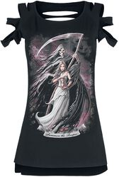 Gothicana X Anne Stokes - Schwarzes T-Shirt mit Print und Cut-Outs