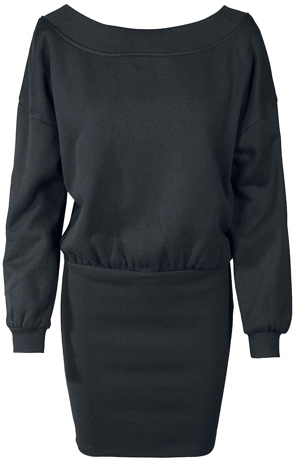 Kleider - Urban Classics Ladies Sweat Off Shoulder Dress Kurzes Kleid schwarz  - Onlineshop EMP