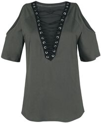 Schulterfreies Shirt mit Schnürung