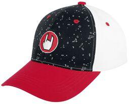 Schwarz/rot/weiße Cap mit Rockhand