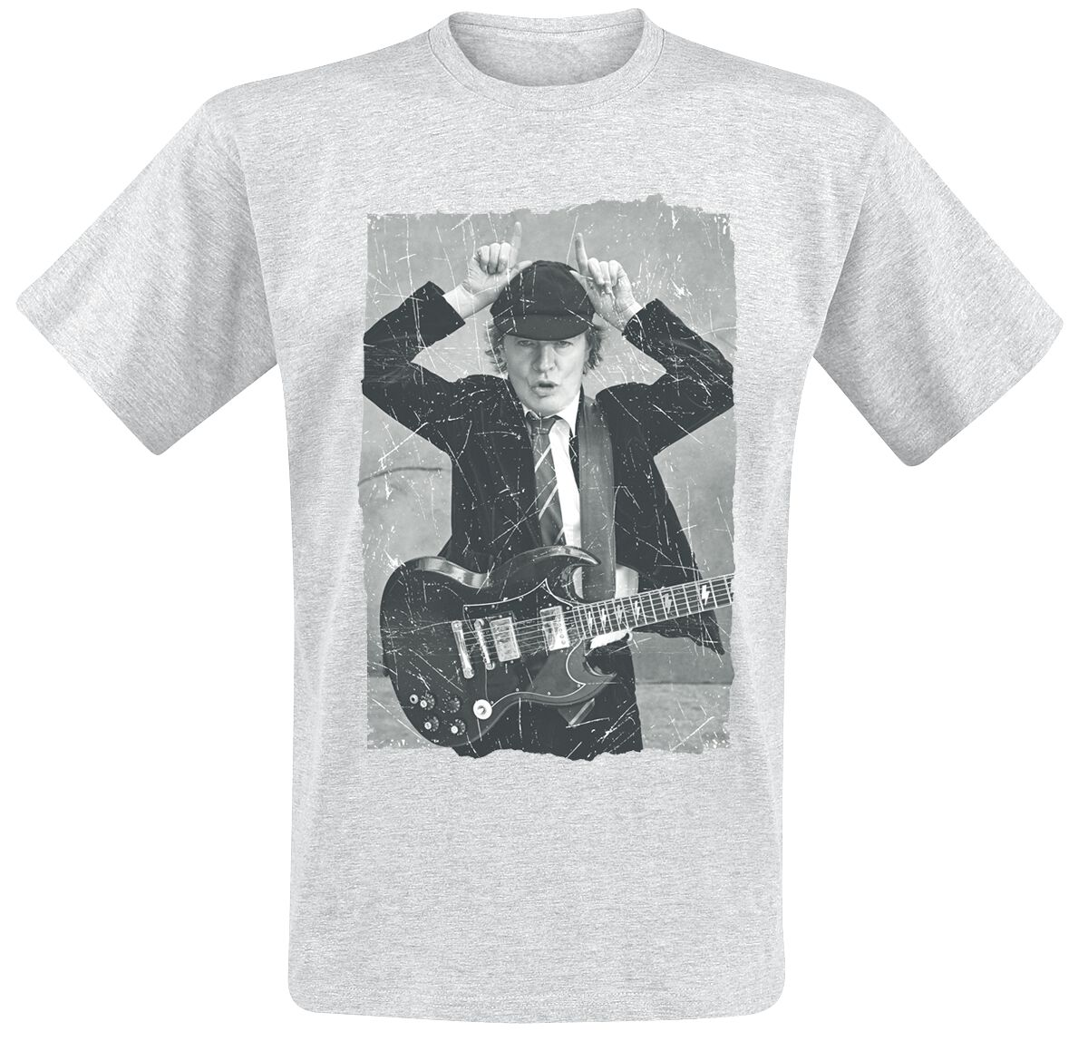 Image of AC/DC Angus Young Distressed Photo T-Shirt grau meliert