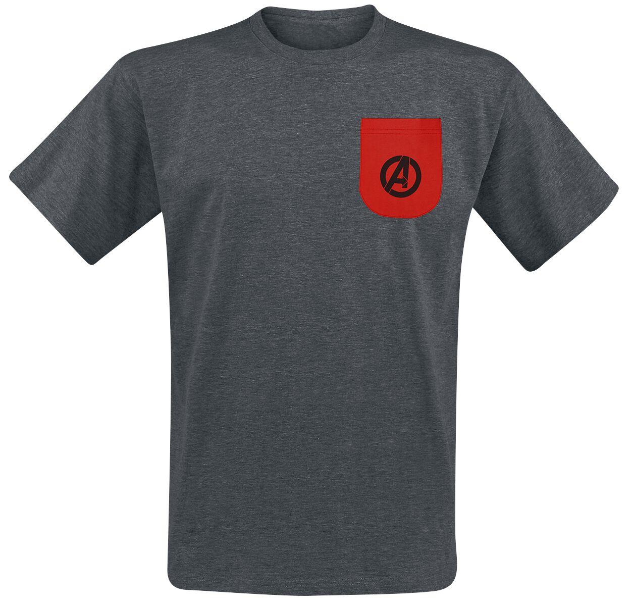 Image of Avengers Avengers - Logos T-Shirt dunkelgrau meliert