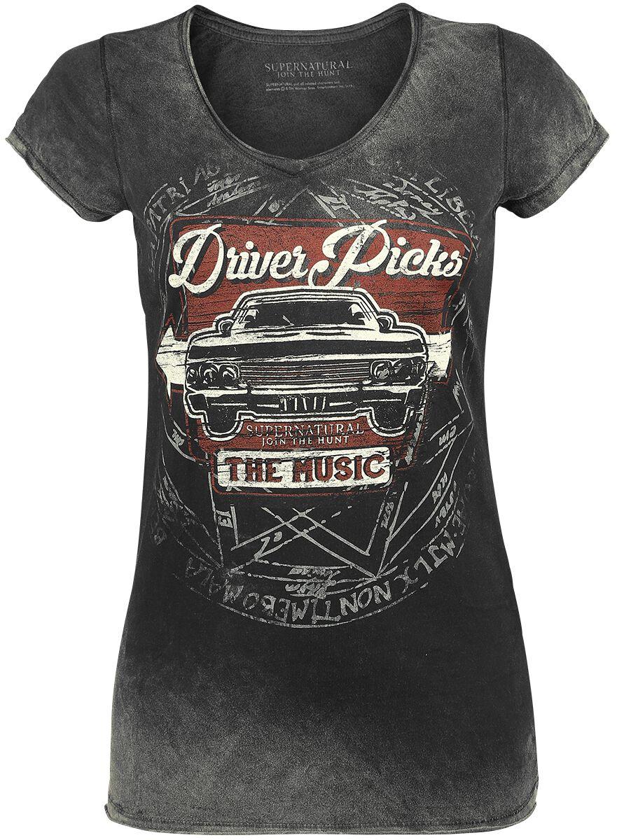 Supernatural Driver Picks The Music T-Shirt grau 0513 Sasha Driver Pi