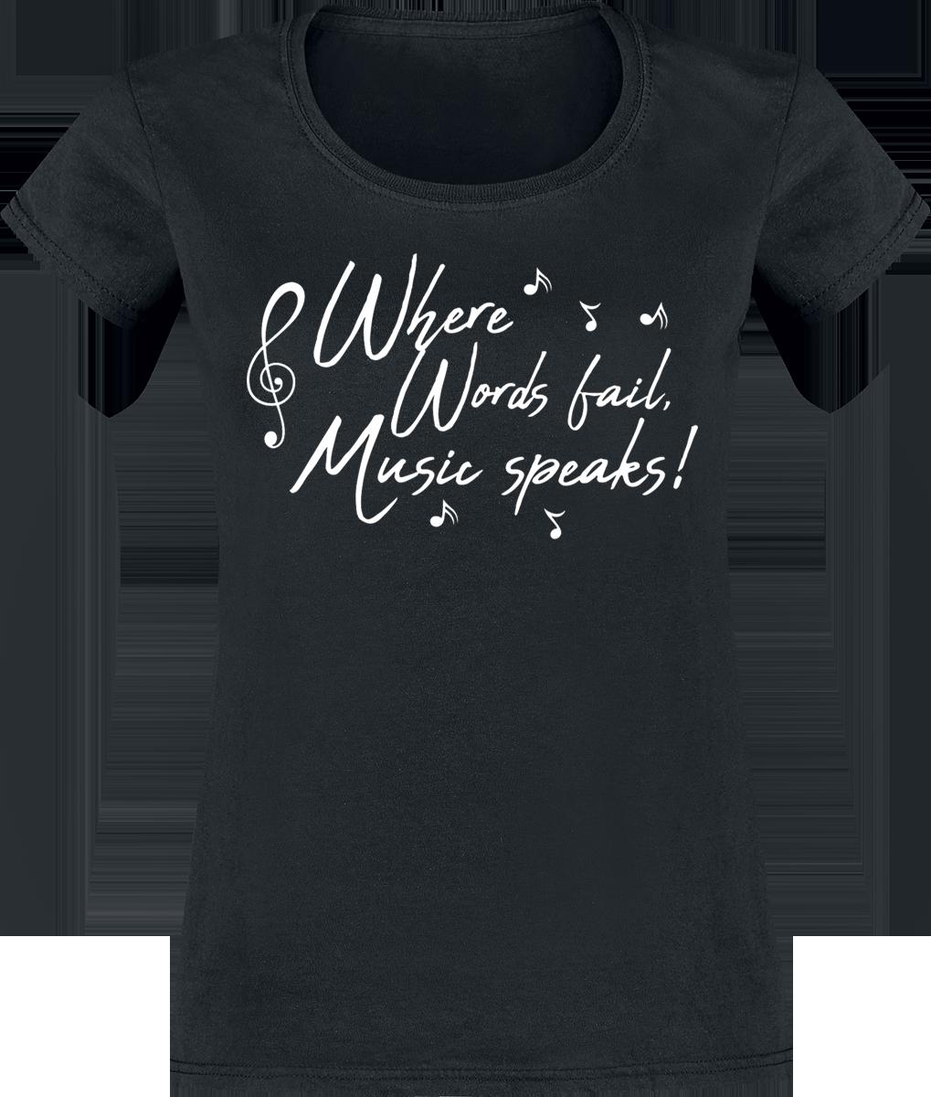 Where Words Fail, Music Speaks! -  - Girls shirt - black image