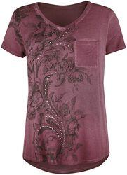 bordeaux T-Shirt mit Strasssteinen und Print