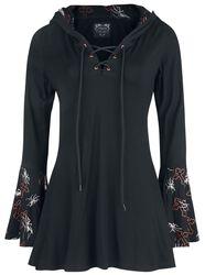 Gothicana X Anne Stokes - Schwarzes Langarmshirt mit Schnürung, Print und großer Kapuze