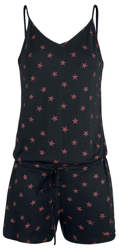 Schwarzer kurzer Jumpsuit mit roten Sternen