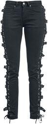 Schwarze Jeans mit Schnürung und Schnallen