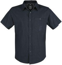 Dunkelblaues Kurzarmhemd mit Brusttasche und Stickerei
