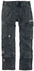 Graue Jeans mit Waschung und Patches