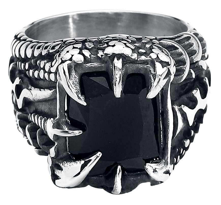 etNox hard and heavy Kristallklaue Ring silberfarben SR1186