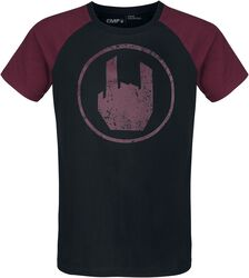 Schwarzes T-Shirt mit rotem Rockhand-Print