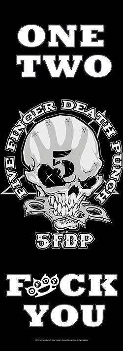 Image of Five Finger Death Punch One Two Fuck You Door-Flagge schwarz/weiß