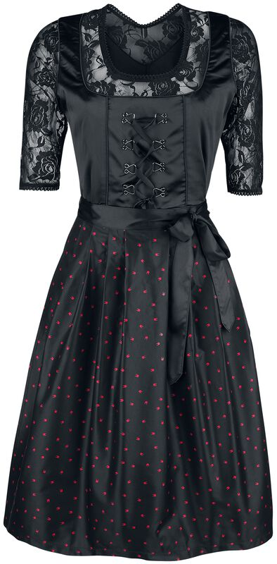 Schwarzes Dirndl mit Spitzenbluse und Rockhand-Schürze