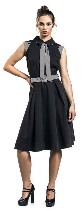 Black Sophie Stripped Skater Dress