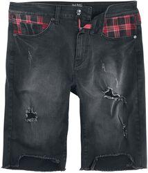 Schwarze Shorts mit Patches und Destroyed-Effekten