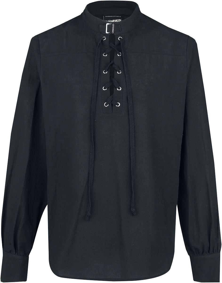 Banned Alternative Schnürhemd mit Schnalle  Hemd  schwarz