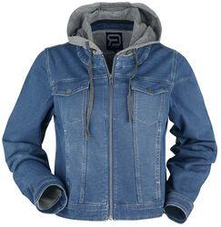 Blaue Jacke mit Sweat Einsatz