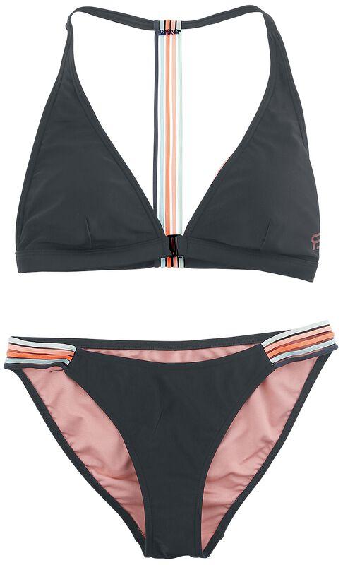 RED X CHIEMSEE - schwarzer Bikini mit bunten Streifen