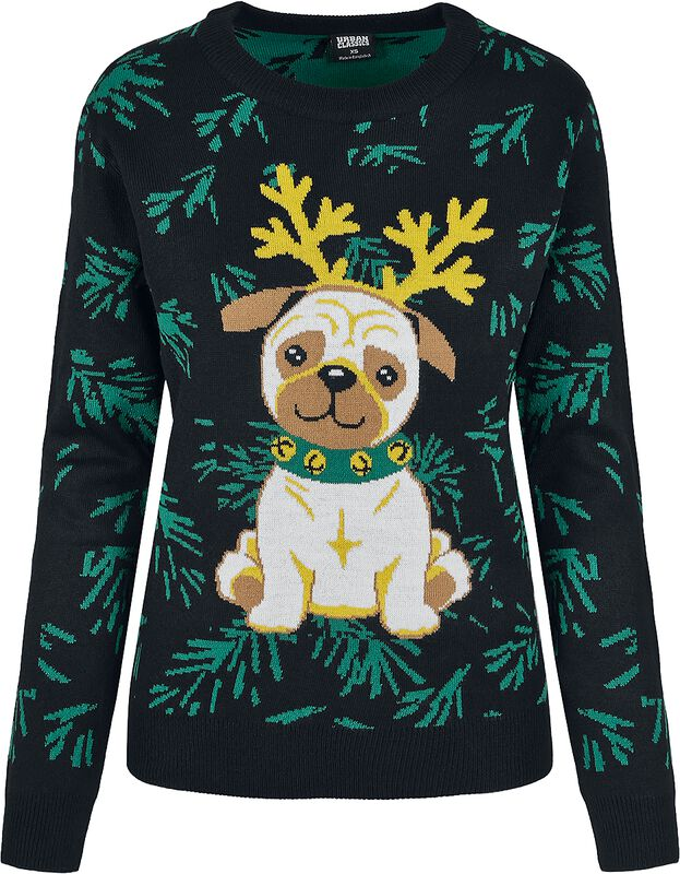 Ladies Pug Christmas Sweater