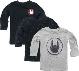 Grau/schwarzes 3er Pack Langarmshirts