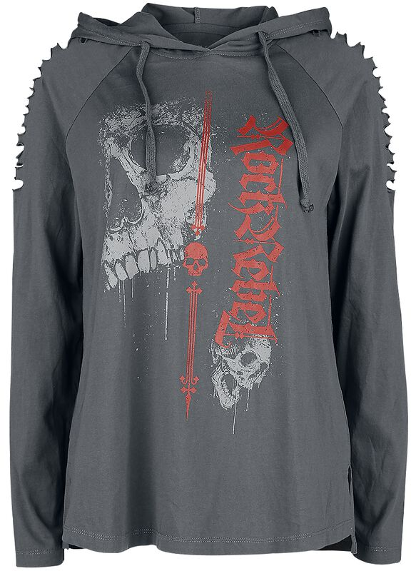 graues Longsleeve mit Kapuze und Cut-Outs