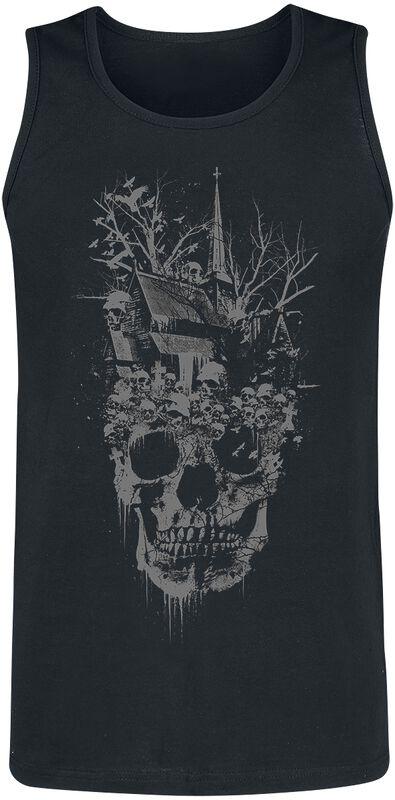 Schwarzes Top mit düsterem Frontprint