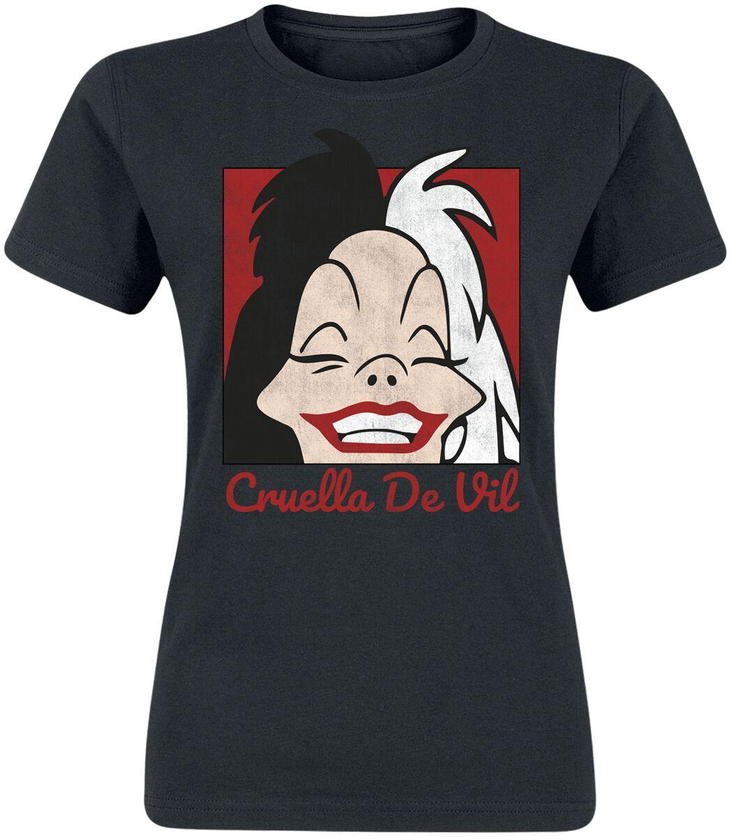 Image of 101 Dalmatiner Cruella De Vil Cropped Head Girl-Shirt schwarz