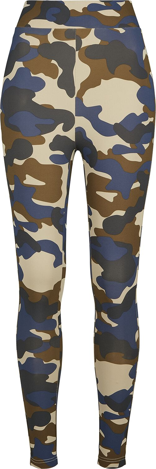 Hosen - Urban Classics Ladies High Waist Camo Tech Leggings Leggings blue camo  - Onlineshop EMP