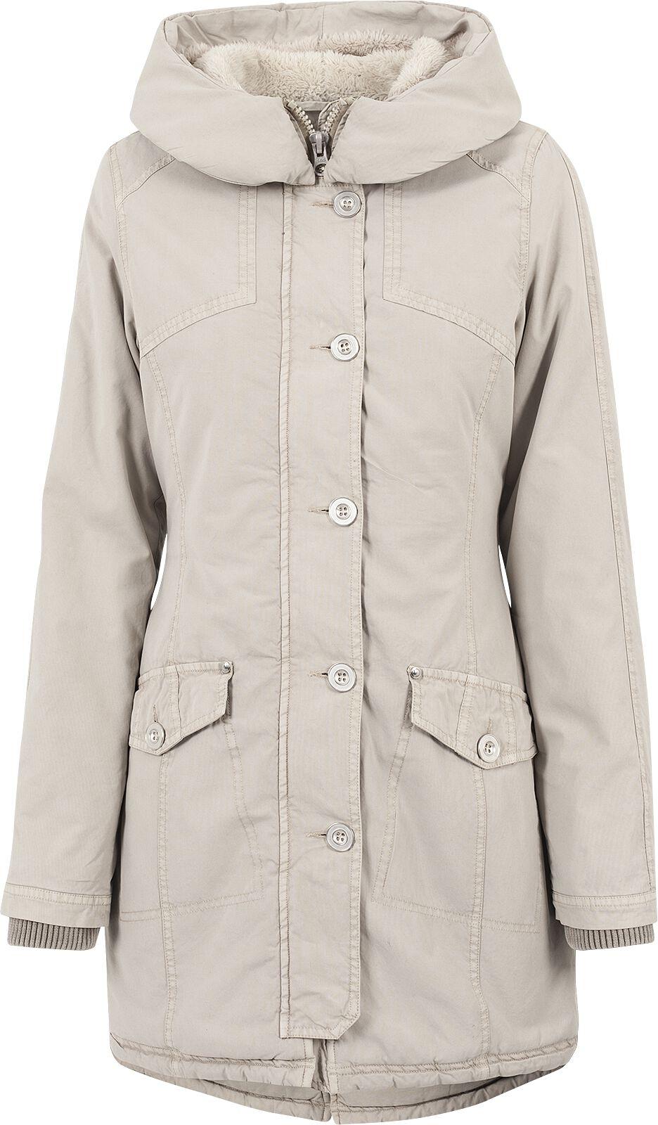 Jacken für Frauen - Urban Classics Ladies Garment Washed Long Parka Winterjacke sand  - Onlineshop EMP