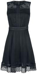 Schwarzes Kleid mit Nieten- und Spitzendetails