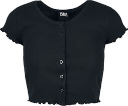 Ladies Cropped Button Up Rib Tee