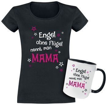 T-shirt + Tasse Engel ohne Flügel nennt man Mama