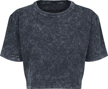 Ladies Acid Washed Cropped Tee