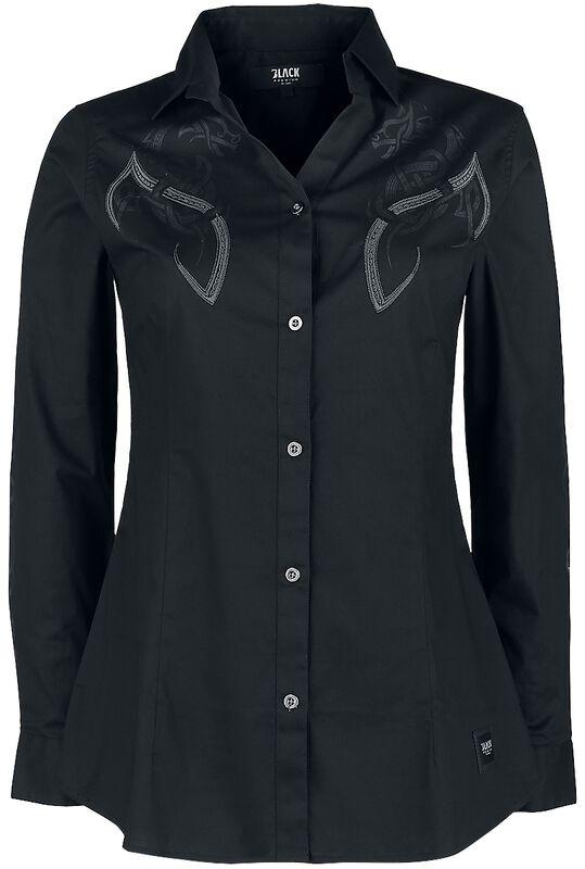 Schwarzes Langarmhemd mit keltisch anmutendem Print