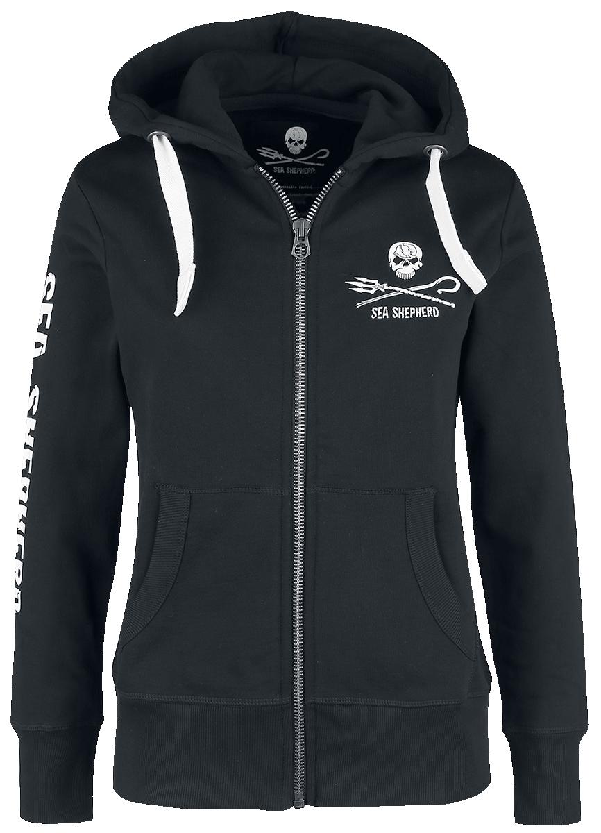 Sea Shepherd - Jolly Roger - Girls hooded zip - black image