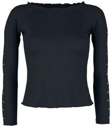 Schwarzes Langarmshirt mit Zierösen und Rippstoff