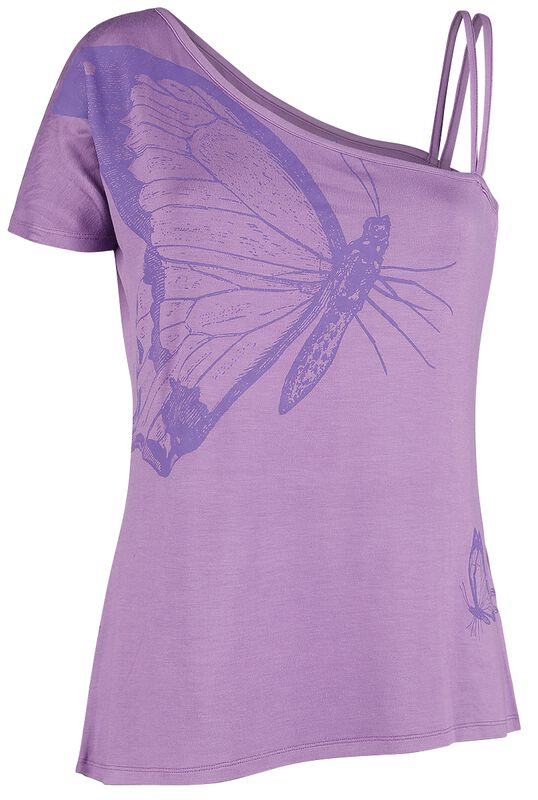 Violettes T-Shirt mit Träger und Ärmel