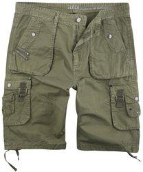 Olivfarbene Army Shorts mit praktischen Taschen