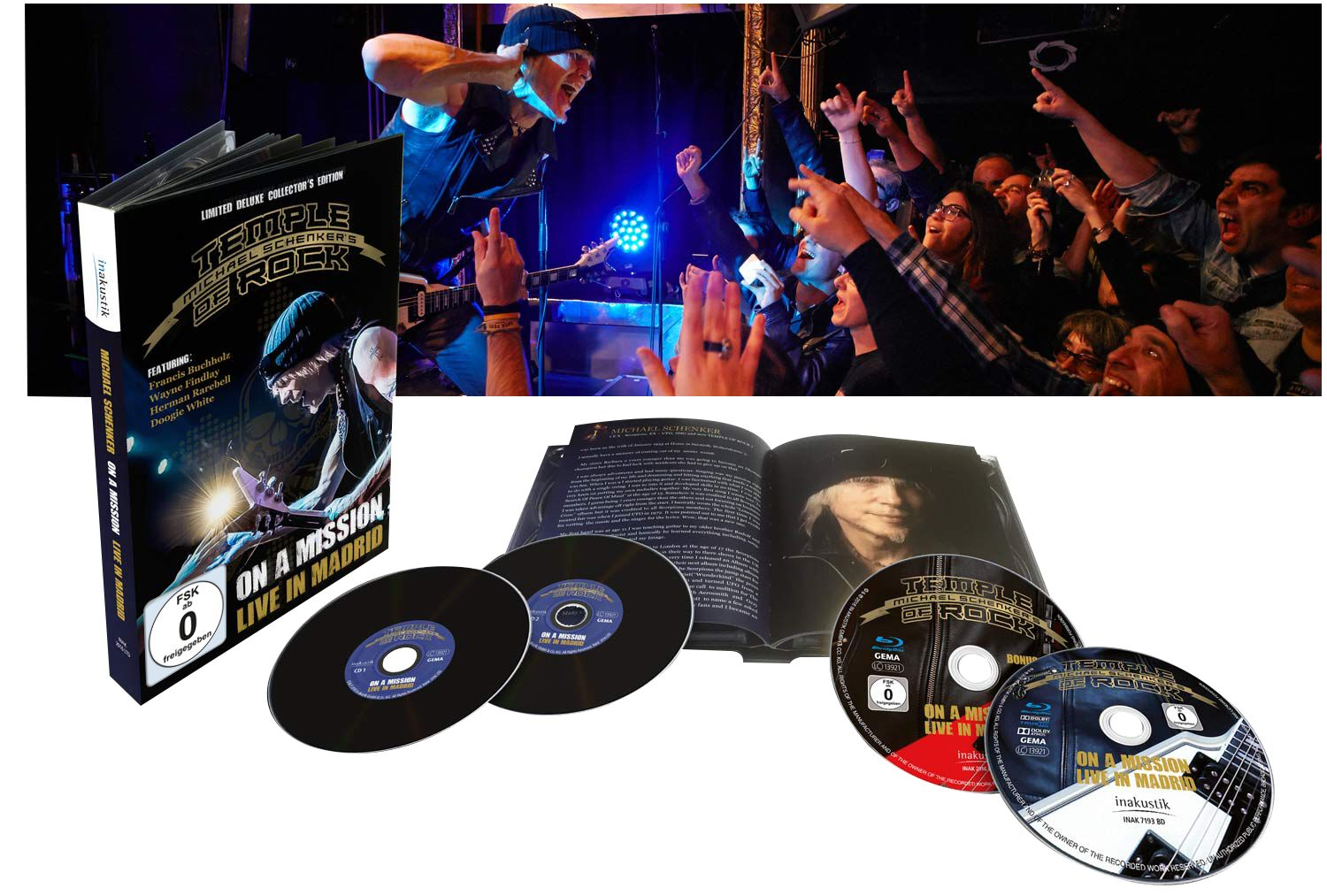 Image of Michael Schenker's Temple Of Rock On a mission - Live in Madrid 2-Blu-ray & 2-CD Standard