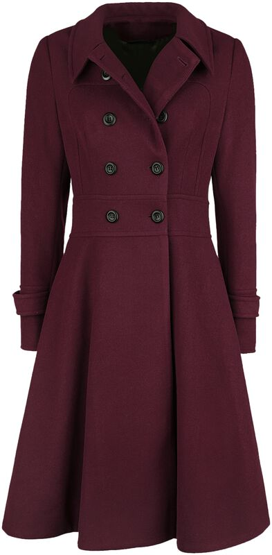 Rose Double Breasted Black Pleat Coat