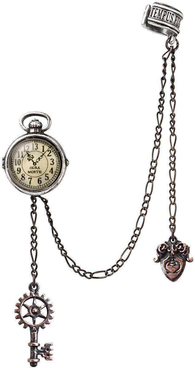 Alchemy Gothic Uncle Albert's Timepiece Ohrstecker silberfarben E349